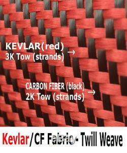 1 Ft x 50 FT KEVLAR-CARBON FIBER ARAMID Fabric-Twill Weave 3K/2K-200g/m2