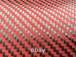10' X 1 METER=RED CARBON FIBER FABRIC-TWILL WEAVE-3K/200g