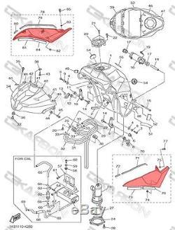2009 2014 Yamaha YZF R1 Carbon Fiber Side Tank Panels 2x2 twill weave