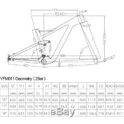 29ER 17 Full Carbon Fiber Suspension Frame, 3K twill Glossy bicycle mtb frame