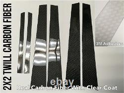 2x2 Twill Real Carbon Fiber Pillar Panel Covers for 02-08 E65 E66 745i 750i