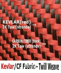 4 in x 100 FT fabric made with KEVLAR-CARBON FIBER Fabric Twill -3K/200g/m2
