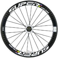 50mm Clincher Carbon Wheels 700C Road Bike Cycle Wheelset 23mm Width 12K Twill