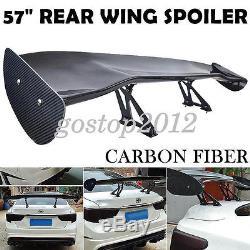 57'' 3D 3DI GT Twill Carbon Fiber Color Car Rear Spoiler Racing Wing Adjustable