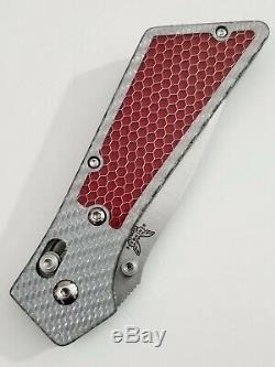 Benchmade 553 Mel Pardue Griptilian Tanto Custom Scales Silver Twill Red C-Tek