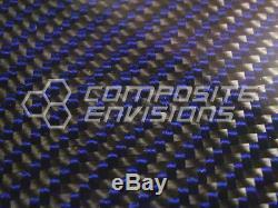 Carbon Fiber Blue Kevlar Panel Sheet. 185/4.7mm 2x2 twill EPOXY-48 x 48