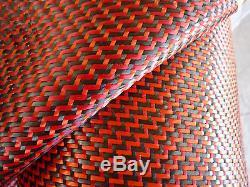 Carbon Fiber Cloth Orange/Red Kevlar Fabric Dual Twill Weave 50 3k 5 yards