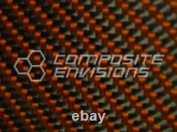 Carbon Fiber Panel Made with Kevlar Orange. 022/. 56mm 2x2 twill-12x48