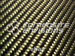 Carbon Fiber Panel Made with Kevlar Yellow. 093/2.4mm 2x2 twill-EPOXY-12x24