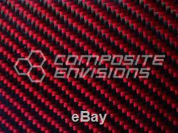 Carbon Fiber Red Kevlar Panel Sheet. 156/4mm 2x2 twill EPOXY-48 x 48