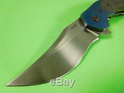 Joel Chamblin Knives Upper Cut Flipper Blue / Silver Twill Carbon Fiber USA