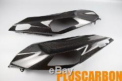 Kawasaki NINJA H2 SX SE Twill Carbon Fiber Tail Side Covers Set Glossy