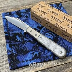 LionSteel Shuffler Silver Twill Carbon Fiber Handles Modern SlipJoint Jack Knife