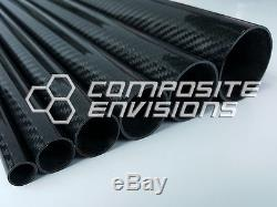 Roll Wrapped Carbon Fiber Tube Twill Weave Gloss Finish 2 OD 48 long