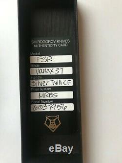 Shirogorov Knives F3R Vanax 37 Silver Twill CF MRBS