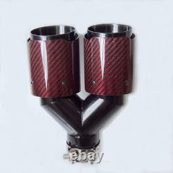 Sormor Red Twill Carbon Fiber Dual-Outlet Y-Style Muffler Pipes Exhaust Tips wit