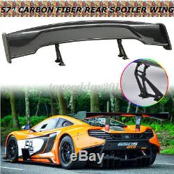 US Adjustable 57'' 3D GT Twill Carbon Fiber Color Car Rear Spoiler Racing Wing