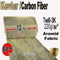 12 X 50 Ft Tissu Réalisé Avec Kevlar-fibre De Carbone Tissu Sergé -3k / 200g / M2