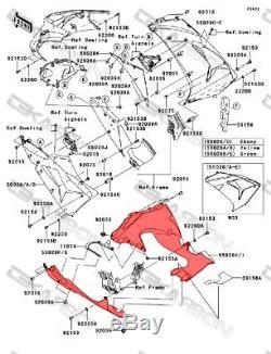 2006 2007 Kawasaki Zx10r Fibres Latérales Inférieures En Fibre De Carbone 2x2 Sergé