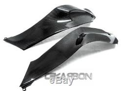 2011 2015 Kawasaki Zx10r Panneaux Latéraux De Réservoir De Fibre De Carbone 2x2 Armures Croisées