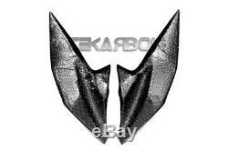 2013 2016 Kawasaki Z800 Fibre De Carbone Panneaux Latéraux De Phare 2x2 Twill Tisse