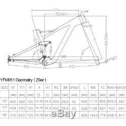 29er 17 Full Carbon Fiber Suspension Frame, 3k Sergée Bicyclette Glossy Cadre Vtt