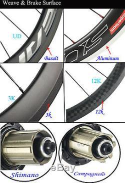 50 MM Roues Carbon Clincher 700c Route Cycle Wheelset 23mm Largeur 12k Sergé