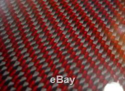 Fibre De Carbone Fabriquée Avec Un Panneau Rouge En Kevlar. 012 /. 3mm 2x2 Sergé Epoxy-36 X 60