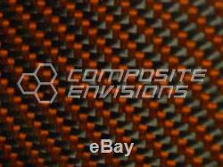 Fibre De Carbone Orange Kevlar Panel Sheet. 156 / 4mm 2x2 Twill Epoxy-48 X 48