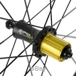 Le Vélo De Route De Fibre De Carbone De Pneu De Superteam 50mm Roule La Paire De Roues De Vélo De Sergé De 12k