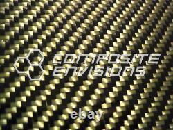 Panneau En Fibre De Carbone Fabriqué Avec Du Jaune Kevlar. 185/4.7mm 2x2 Twill-12x48