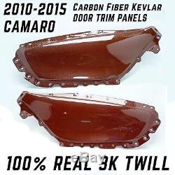 Panneaux De Porte De Fibre De Carbone De 5ème Gen Camaro 100% Carbone Cramoisi De Sergé 3k