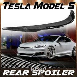 Pour 2012-2019 Tesla Model S Gloss En Fibre De Carbone Arrière Du Coffre Aileron Wing Couvercle De Plate-forme