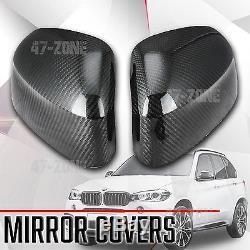 Pour 2014-17 Bmw X5 F15 Noir Véritable Fibre De Carbone Côté Miroir Couverture Overlay Garniture