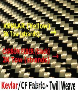 Tissu Fibre Kevlar-carbone 12 Po X 50 Pi- Jaune-noir Sergé Tissé-3k / 200g / M2
